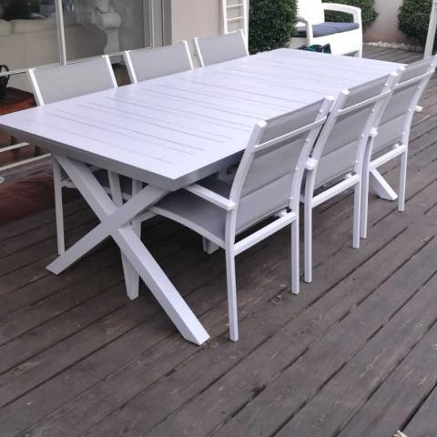 שולחן נפתח לגינה כולל 6 כיסאות דגם XR