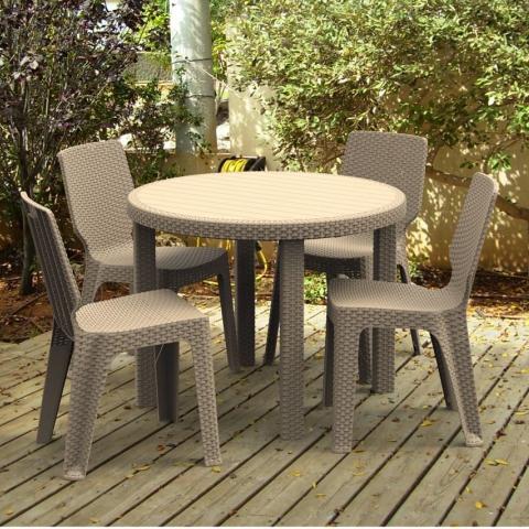 שולחן עגול 96 קוטר דגם סולו דמוי ראטן