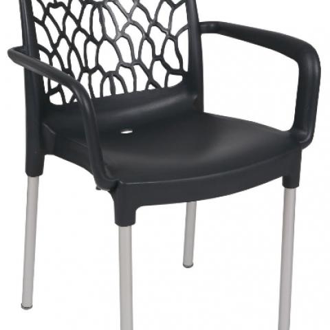 כיסא עם ידיות מפלסטיק רגליים אלומניום