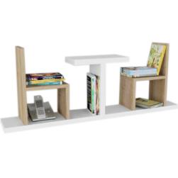 ספריה לספרים ונוי דגם שולחן כסאות לתליה