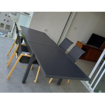 מערכת ישיבה מאלומינים 1.35מ'/2.70 מ' כולל 4 כיסאות דגם Tel-Aviv מבית H.KLEIN