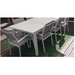 שולחן נפתח 216/297  100% אלומיניום רוחב 100 כולל 6 כסאות