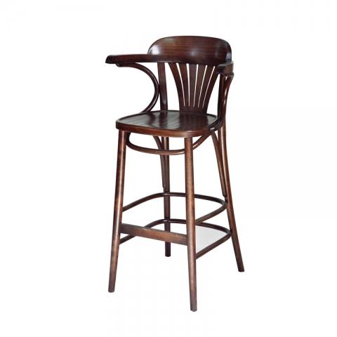 כיסא בר דגם מניפה מושב עץ בלבד