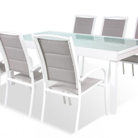 SUN REMO פינת ישיבה מאלומיניום : שולחן נפתח בגודל : 220-320/105 ס