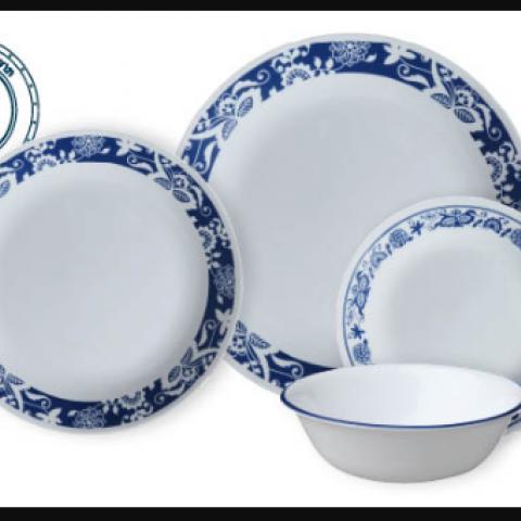 סט 18 צלחות קורנינג CORELLE® - True Blue - ניתן לרכוש בתפזורת
