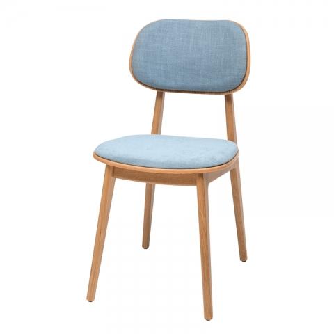 כיסא לולה מעץ אלון מושב וגב מרופד