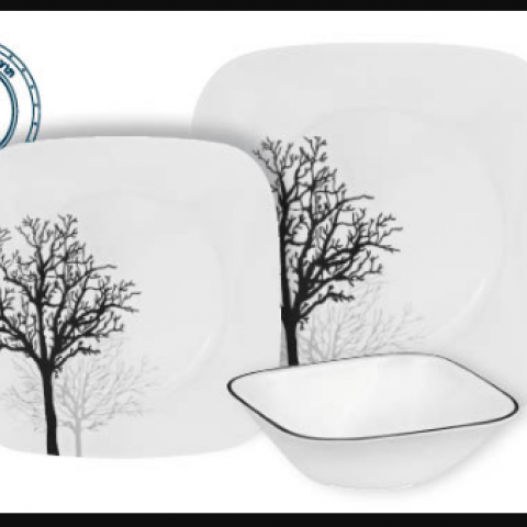 סט 18 צלחות קורנינג CORELLE® - Timber Shadows ניתן לרכוש בתפזורת