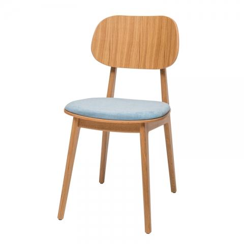 כיסא לולה עץ אלון מושב מרופד