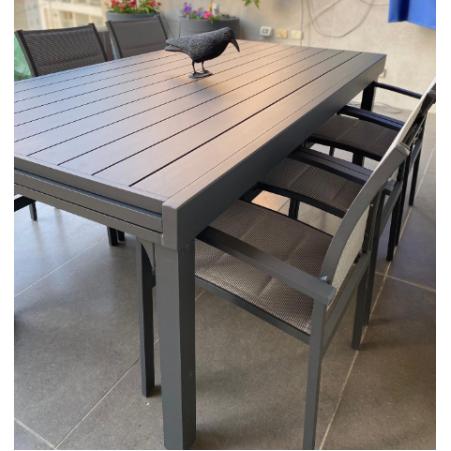 שולחן אלומיניום נפתח 200/320 /105 כולל 6 כיסאות מרופדים דגם דובאיי מבית H.KLIN - חסר זמנית