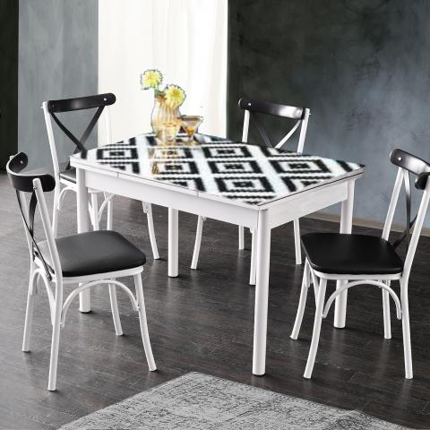 סט שולחן כולל 4 כיסאות