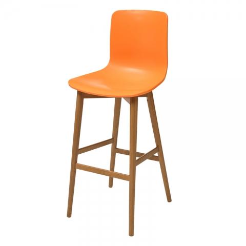 כיסא בר מעץ דגם רומאו קונוס צבע אלון בלבד