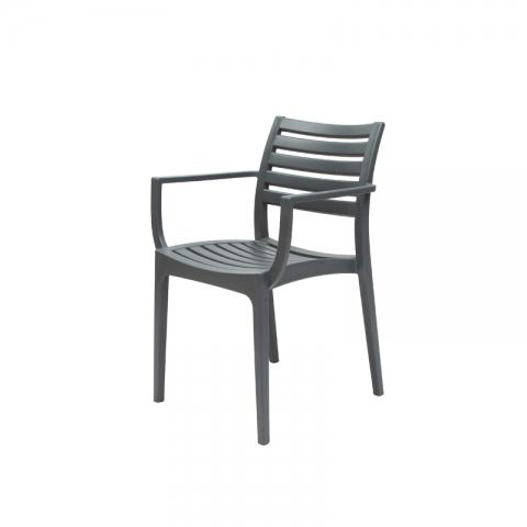 כיסא איריס עם ידיות יציקת פלסטיק באפור או לבן