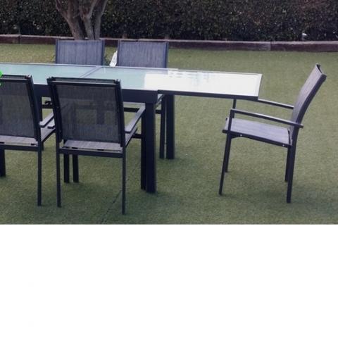 סט אלומניום דגם קוסמוי שולחן נפתח 200/300 כולל 6 כסאות