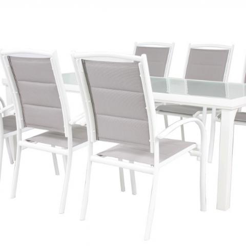 סט אלומיניום הכוללת שולחן בגודל 210/105 ס