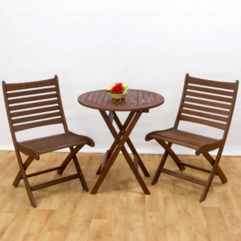 סט שולחן עץ עגול כולל 2 כסאות