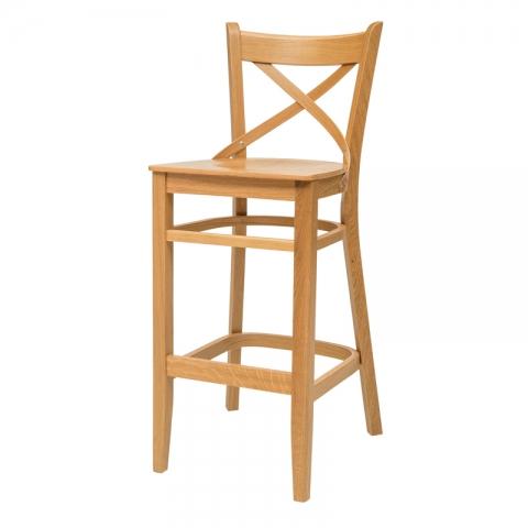 כיסא בר דגם קרן בעץ אלון בלבד/ מושב עץ או מרופד