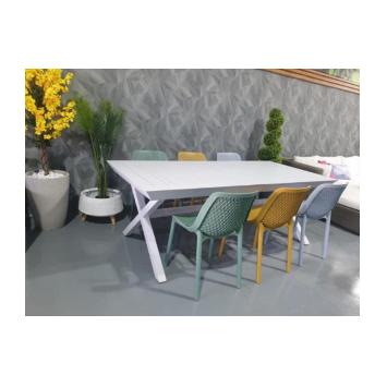 שולחן אלומיניום רגל איקס נפתח 100×216/297 כולל 6 כסאות פלסטיק מבית H.KLEIN