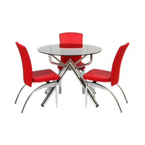 שולחן סלון זכוכית דגם מרים קוטר 100 סמ