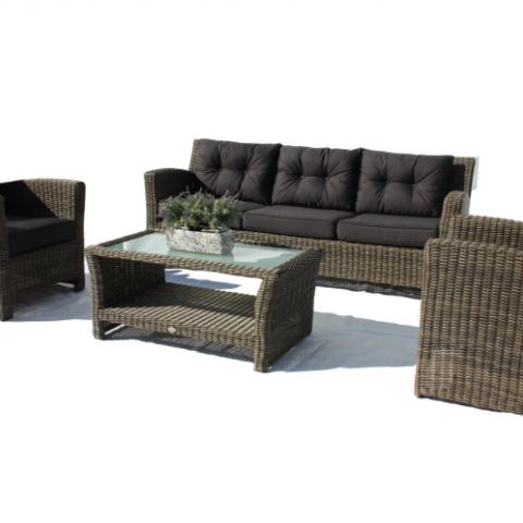 ספה תלת מושבית , 2 כורסאות ושולחן קפה