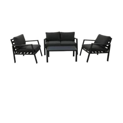 מע' ישיבה אלומיניום הכוללת-  ספה דו מושבית 2 כורסאות  שולחן ** קיים גם בלבן בריפוד אפור כהה