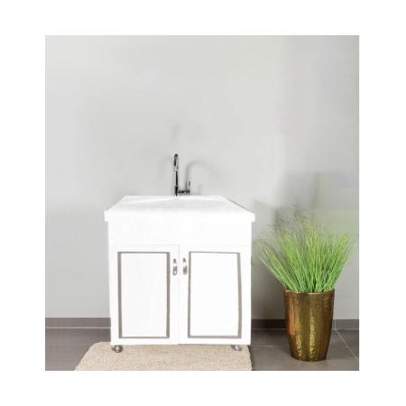 ארון אמבטיה חומר P.V.C כולל כיור מקרמיקה רוחב 60 ס