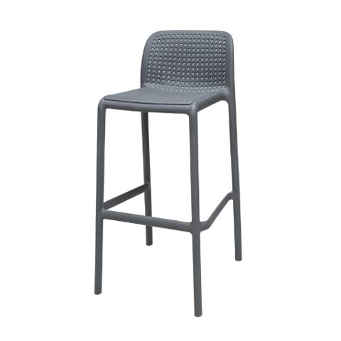 כיסא בר מיציקת פלסטיק (פוליפרופילן) דגם רשת בצבע אפור