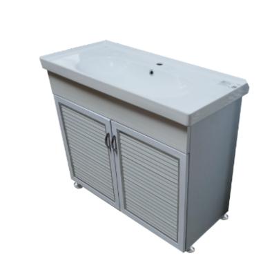 ארון אמבטיה חומר P.V.C כולל כיור מקרמיקה  רוחב 80 ס