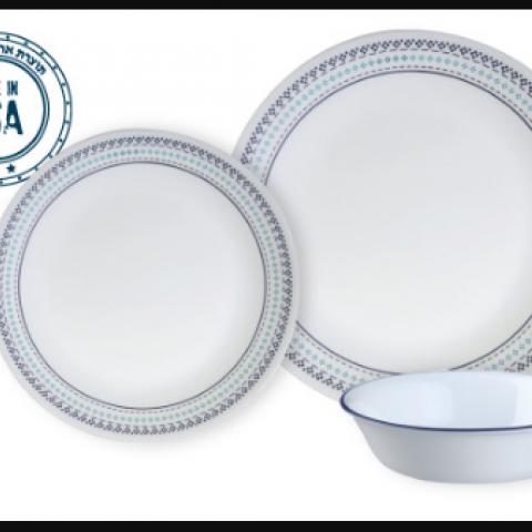 סט 18 צלחות קורנינג CORELLE® - Folk Stitch - ניתן לרכוש בתפזורת