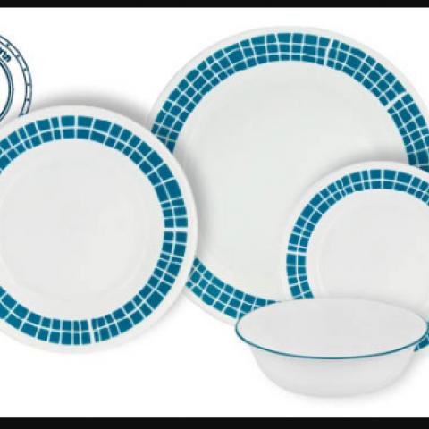 סט 18 צלחות קורנינג CORELLE® - Aqua Tiles - ניתן לרכוש בתפזורת