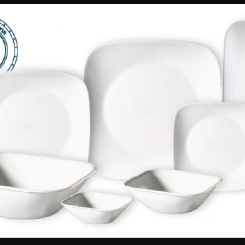 סט 18 צלחות קורנינג CORELLE® - Pure White- ניתן לרכוש בתפזורת