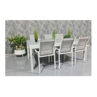 """שולחן +6 כסאות 200/100 ס""""מ נפתח ל320 ס""""מ צבע אפור בהיר וזכוכית אפורה מבית H.KLEIN """