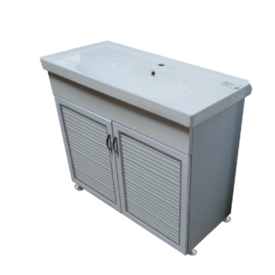 ארון אמבטיה חומר P.V.C כולל כיור מקרמיקה רוחב 100 ס