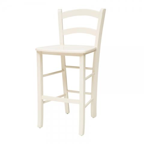 כיסא בר דגם קאנטרי עץ צבע לבן או שמנת מרופד