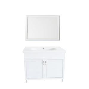 ארון אמבטיה כולל מראה חומר P.V.C כולל כיור מקרמיקה רוחב 100 ס
