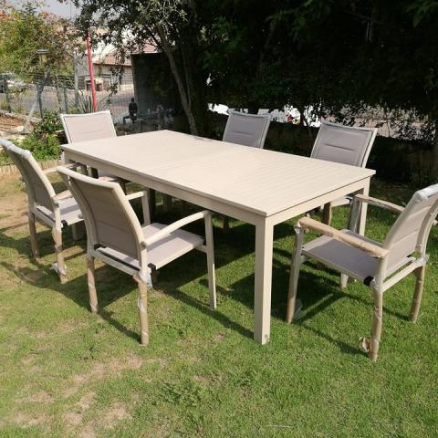 שולחן נפתח לגינה %100 אלומיניום 100/200 רוחב מטר. מצב פתוח עד 300 ס