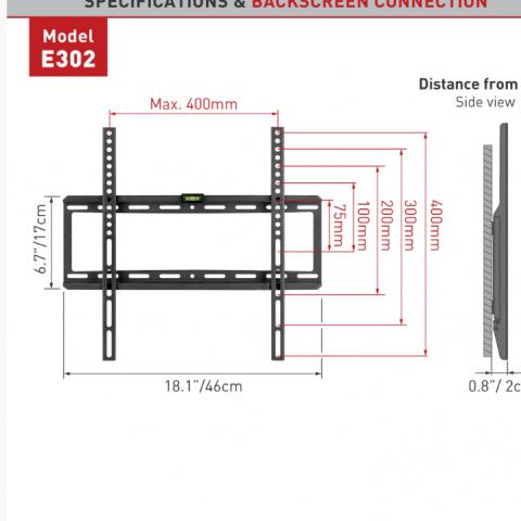 דגם E302 זרוע ברקן למסכים שטוחים קבועה עד 65