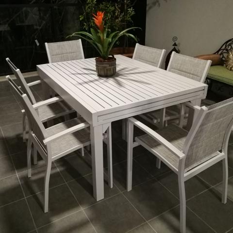 שולחן חוץ נפתח %100 אלומיניום 90x135/270 לבן  או אפור +  כולל 4 כסאות