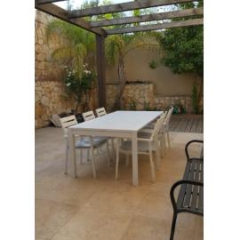 שולחן אלומיניום נפתח לגינה דגם אמה 100x200/300 כולל 6 כסאות לבן או אפור
