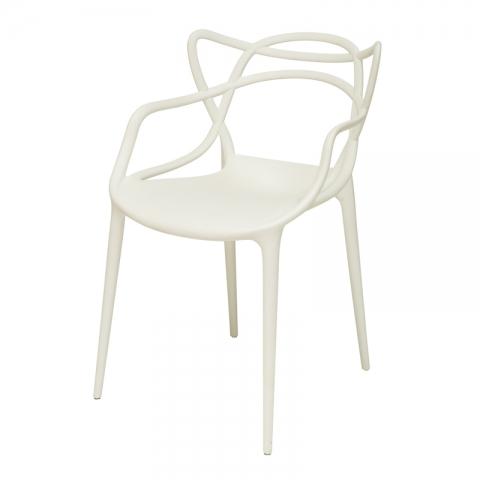 כיסא פיקאסו עם ידיות פלסטיק יצוק שחור או שמנת