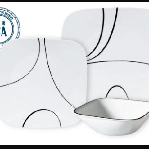 סט 18 צלחות קורנינג CORELLE® - Simple Lines ניתן לרכוש בתפזורת
