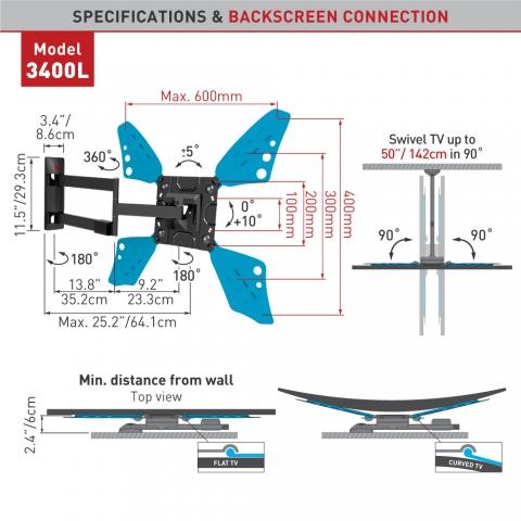 זרוע 3400L זרוע ארוכה במיוחד למסכים שטוחים וקעורים 4 תנועות עד 70