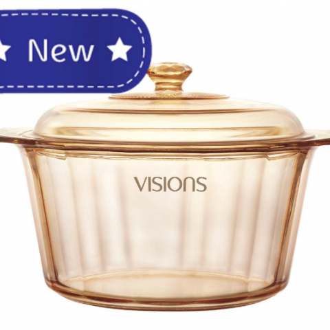 סיר זכוכית 5 ל' + מכסה Vision Diamond מבצע 50% הנחה מהמחיר