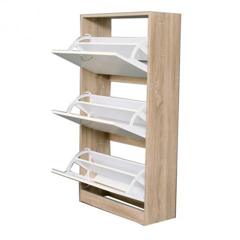 ארון לאחסון ושמירת נעליים בצבע לבן משולב עץ מחולק לשלושה תאים בעלי מידוף פנימי H.KLEIN