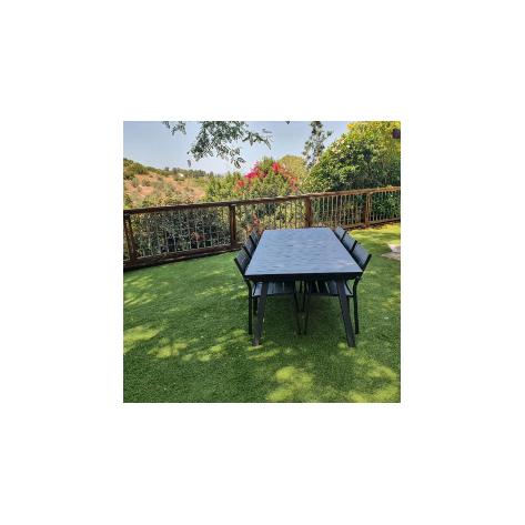 שולחן אלומיניום נפתח לגינה דגם אמה 100x216/297 כולל 6 כסאות - לבן או אפור