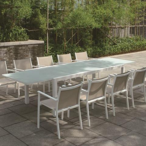 שולחן אלומיניום נפתח לגינה 100X200 / 300 לבן בג'