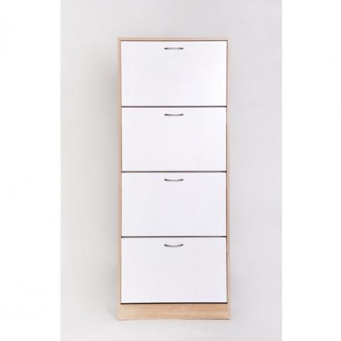 ארון נעלים 4 תאים צבע עץ / לבן מותג H.KLEIN